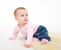 Eight-monthly girl in a pink jacket and jeans Royalty Free Stock Images