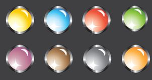 Eight multi-colored buttons Royalty Free Stock Photos