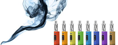Eight multicolored electronic cigarettes Royalty Free Stock Photos