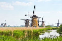 Eight from the nineteen windmills in Kinderdijk Stock Photos