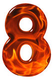 8, eight, numeral from glass with an abstract pattern of a flami Stock Photography