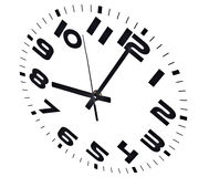 Eight o'clock. Clock isolated on white marking the eight o'clock hour Stock Photos