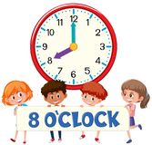 Eight o`clock with children stock illustration