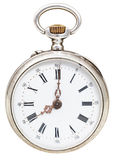 Eight o'clock on the dial of retro pocket watch Stock Photography