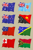 Eight Oceanic flags. Computer generated illustration of the flag of eight Oceanic countries: Australia - Fiji - New Zealand - Papua New Guinea - Samoa - Solomon Stock Photography