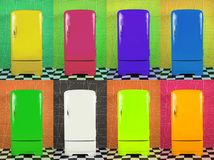Eight old multi-colored fridges on different backgrounds. Horizontal frame stock images