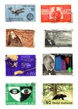 Eight old stamps. 8 old italian stamps background Royalty Free Stock Photography