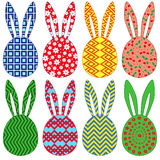 Eight ornamental Easter rabbit heads Royalty Free Stock Images