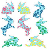 Eight ornamental rabbits Royalty Free Stock Image