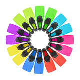 Eight pairs color flippers for diving Royalty Free Stock Photography