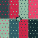 Eight patterns with stars. In different color combinations Royalty Free Stock Image