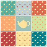 Eight patterns time for tea. Eight retro seamless patterns pastel colors Stock Photos