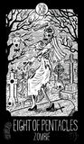 Eight of pentacles. Zombie Royalty Free Stock Image