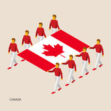 Eight people hold big flag. Of Canada. 3D isometric standard bearers. Canadian sport team. Simple vector illustration for infographic Stock Images