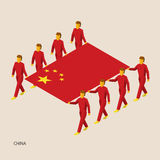 Eight people hold big flag. Of China. 3D isometric standard bearers. Chinese sport team. Simple vector illustration for infographic Stock Photography