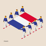 Eight people hold big flag. Of France. 3D isometric standard bearers. French sport team. Simple vector illustration for infographic Royalty Free Stock Photography