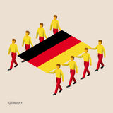 Eight people hold big flag. Of Germany. 3D isometric standard bearers. German sport team. Simple vector illustration for infographic Royalty Free Stock Photography