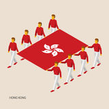 Eight people hold big flag of Hong Kong. 3D isometric standard bearers. Asian sport team. Simple vector illustration for infographic Stock Photos