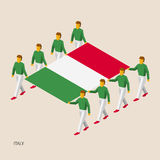 Eight people hold big flag. Of Italy. 3D isometric standard bearers. Italian sport team. Simple vector illustration for infographic Royalty Free Stock Image