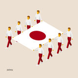 Eight people hold big flag. Of Japan. 3D isometric standard bearers. Japanese sport team. Simple vector illustration for infographic Stock Images