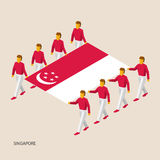 Eight people hold big flag. Of Singapore. 3D isometric standard bearers. Asian sport team. Simple vector illustration for infographic Stock Photography