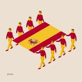 Eight people hold big flag. Of Spain. 3D isometric standard bearers. French sport team. Simple vector illustration for infographic Royalty Free Stock Photography