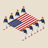 Eight people hold big USA flag. Eight people hold big flag of Germany. 3D isometric USA standard bearers. American sport team. Simple vector illustration for Stock Images