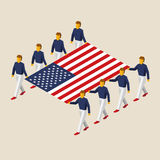 Eight people hold big USA flag. Eight people hold big flag of United States. 3D isometric USA standard bearers. American sport team. Simple vector illustration Stock Photography