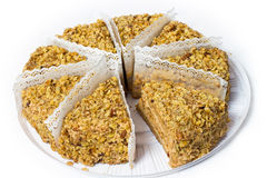 Eight piece of cake with walnuts. Royalty Free Stock Images