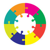 Eight piece jigsaw wheel. In different colors Stock Image