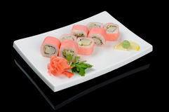 Eight pink rolls Stock Images