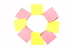 Eight pink and yellow stickers Royalty Free Stock Photography