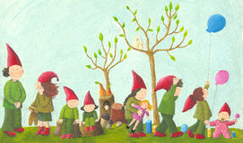 Eight playful dwarfs. Acrylic illustration of eight playful dwarfs Royalty Free Stock Photography