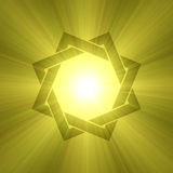 Eight point star symbol sunlight flare. 8 point star sign interlaced with two squares with powerful sun light halo. Center space for you message or graphic Stock Illustration