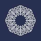 Eight pointed circular pattern in Oriental intersecting lines style. Mandala in snowflake form. On dark background royalty free illustration