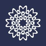 Eight pointed circular pattern in Oriental intersecting lines style. Mandala in snowflakes form on dark background.  royalty free illustration