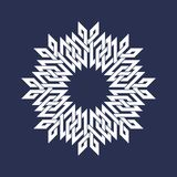 Eight pointed circular pattern in Oriental intersecting lines style. Mandala in snowflakes form on dark background.  vector illustration