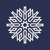 Eight pointed circular pattern in Oriental intersecting lines style. Mandala in snowflakes form. On dark background vector illustration