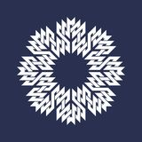 Eight pointed circular pattern in Oriental intersecting lines style. White mandala in snowflakes form on blue background.  royalty free illustration