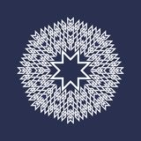 Eight pointed circular pattern in Oriental intersecting lines style. White mandala in snowflakes form on blue background.  vector illustration