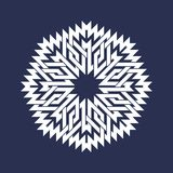 Eight pointed circular pattern in Oriental intersecting lines style. White mandala in snowflakes form. On blue background stock illustration