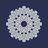 Eight pointed circular pattern in Oriental intersecting lines style. White mandala in snowflakes form. On blue background vector illustration