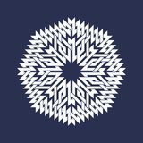 Eight pointed circular pattern in Oriental intersecting lines style. White mandala in snowflakes form. On blue background royalty free illustration
