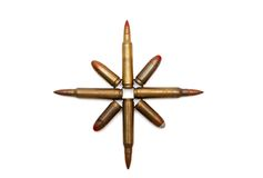 Eight-pointed star of cartridges Stock Photography