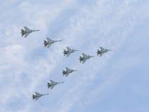 Eight powerful Su-30 fly Stock Image