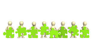 Eight puppets, holding in hands a puzzle. Of green color. Objects over white Royalty Free Stock Images