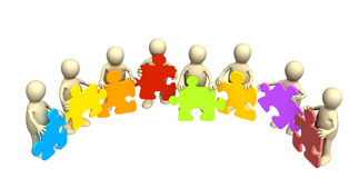 Eight puppets, holding in hands a puzzle Royalty Free Stock Photo