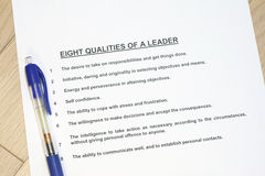 Eight qualities of a leader. Concept listed with a pen royalty free stock photo
