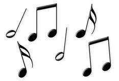 Eight random shiny black music notes Royalty Free Stock Images