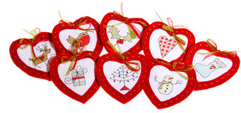 Eight Red Hearts with different embroidery Royalty Free Stock Photography